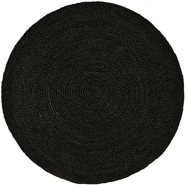 Hand woven black braided jute rug 8 round contemporary rugs