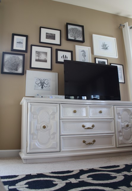 Family Room TV Gallery Wall eclectic family room