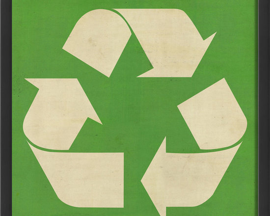 """The Artwork Factory - """"Recycle"""" Print - Reduce. Reuse. Recycle. Celebrate the top of the 'rethink waste' pyramid with this Recycle symbol, highlighted against a green background. Whether you choose to showcase your colors in the laundry room, pantry, kitchen or garage, its smaller dimensions allow you to hang it in a narrower space or above a common work area."""