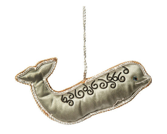 Sitara Collections - Handcrafted Zardozi Ornament - Whale - A Whale of a Fun ornament! Hand-Crafted of Lusciously soft Fabric, this Graceful Silver Whale is a sophisticated Departure From the Same-Old ornament Optioms. with Elegantly Embroidered Swirls and Silver Cord Outline, It's a Delightful Reminder of a Seaside Trip or Simply a Unique Decorative accent. Color: Silver, Black, Grey. Shape: Whale. Dimensioms: 5.75 inches Length X 1.75 inches High X .75 inches Deep. Materials: Fabric, Thread, Beads. Hanging instructioms: Hang with attached Loop.