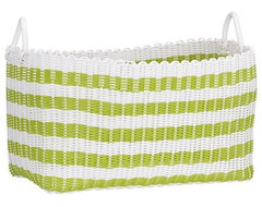 Woven Green and White Laundry Basket contemporary hampers