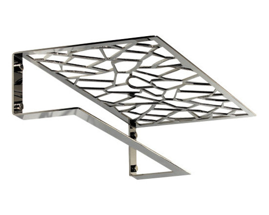 """Manillons - Trencadis Wall Mounting Rack w/ Towel Bar. Polished Chrome - Trencadis Collection. Towel bar with shelf 19.7"""" wide. Simple and amazing design made in brass polished chrome highly reflective with with a very handmade and artisan manufacturing process, it is hand sanded at the end between all the net design holes. Net design holes are made with a delicate laser process. Very suitable and convenient for your bathroom easing you where to put your towels and bathroom products besides the unique given touch that it has. Beautifully coordinates with others Trencadis collection items sold by Macral Design, available to be purchased any time on our houzz profile stock items. Designed and manufactured in Spain"""