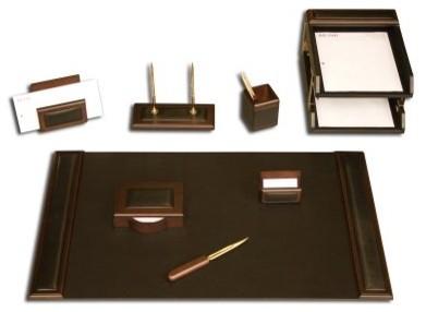 Dacasso Walnut 10 Piece Wood & Leather Desk Set modern-desks