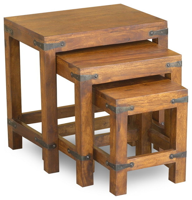 Set Of 2 Square Design Nesting Coffee Tables Made Of Black: Rustic Nesting Tables