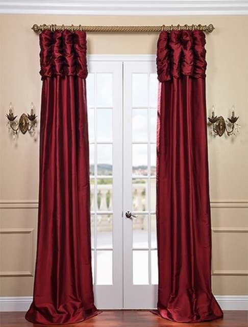 Red Curtains Ruched bold red curtain