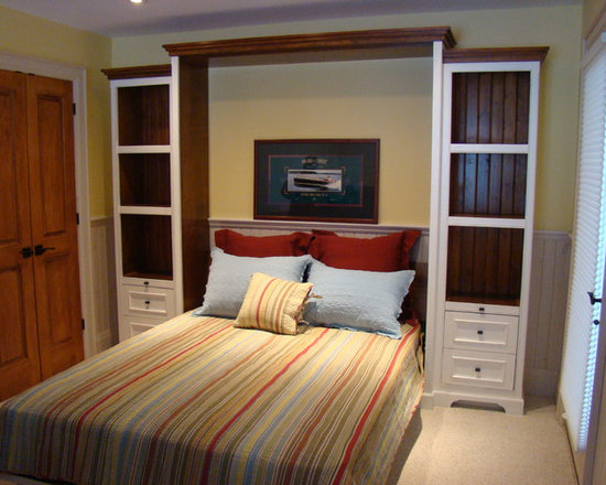 """McKee Cabinetree - Secret Sleeper Murphy Beds - """"Muskokan Queen"""" In antique white, with bookcases, stained wood."""