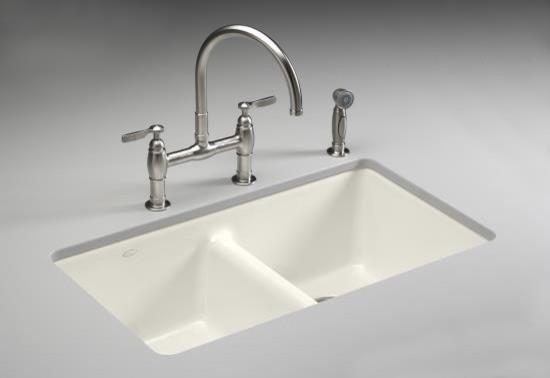 KOHLER K-5840-5U-96 Anthem Cast Iron Undercounter Kitchen Sink with Five Hole Fa traditional-kitchen-sinks