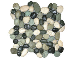 Glazed Bali Turtle Pebble Tile rustic-tile
