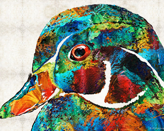 Animals, Fish and Birds - Colorful Wood Duck Art by Sharon Cummings