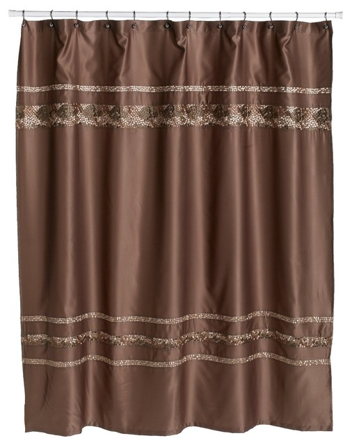 Croscill mosaic embroidered fabric shower curtain mocha