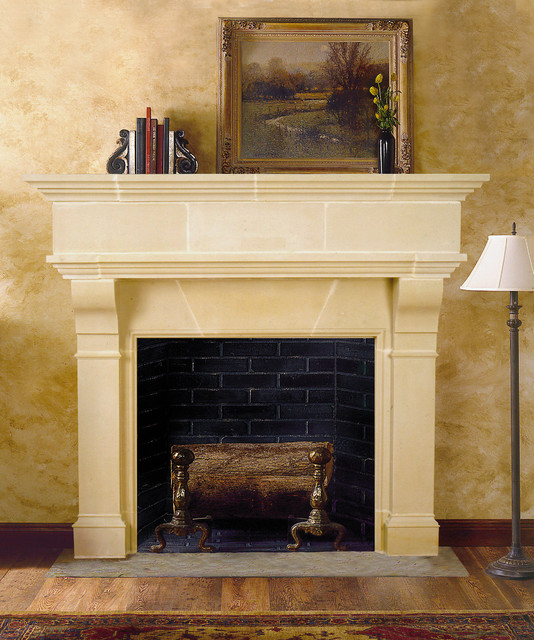 Brunswick Cast Stone Fireplace Mantel traditional-indoor-fireplaces