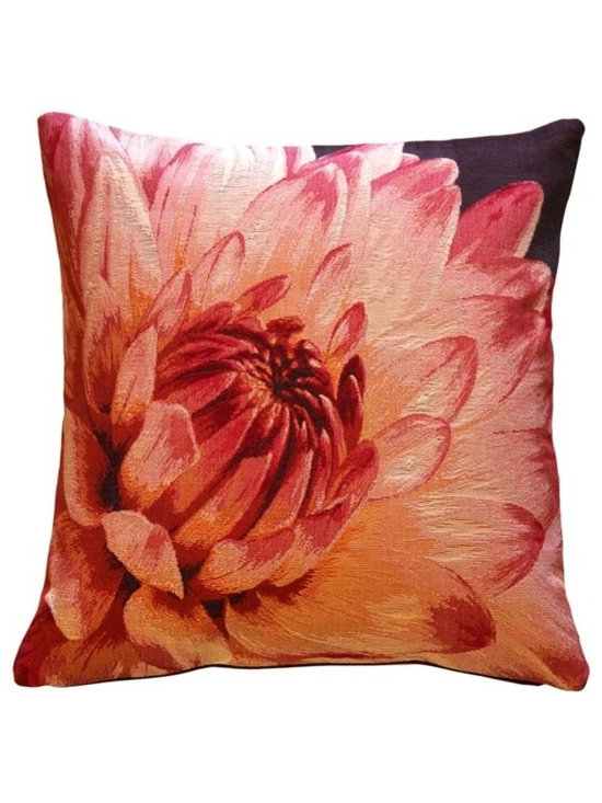 Pillow Decor Ltd. - Pillow Decor - Dahlia Bold Blossom Tapestry Throw Pillow - A large Dahlia blossom unfolds across the front of this dramatic floral tapestry throw pillow. This beautiful throw pillow will add a burst of color you your home.