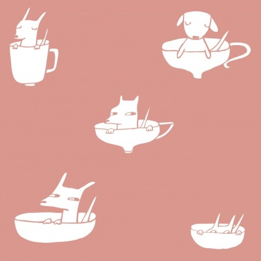 Pups in Cups Wallpaper, Rose contemporary-nursery-decor