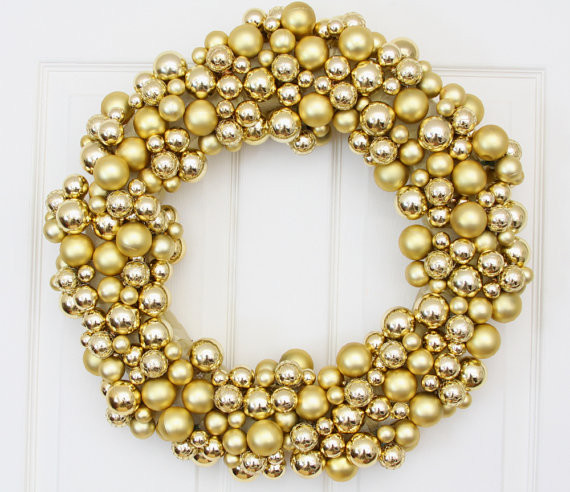 Golden Splendor Holiday Wreath by We Love Wreaths contemporary-holiday-outdoor-decorations
