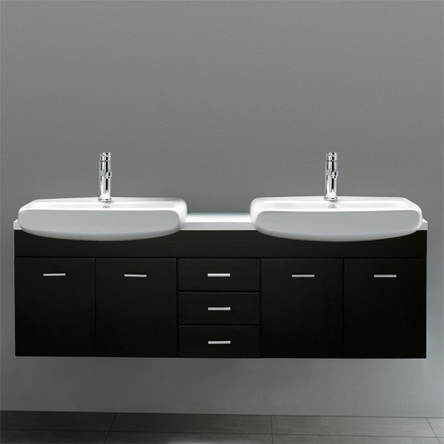 """Contemporary Wall Mounted 59"""" Double Bathroom Vanity Set modern-bath-products"""