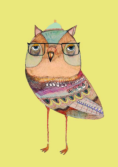 Owl Art Mr Owl Limited Edition Owl Art Print by Ashley Percival eclectic kids decor