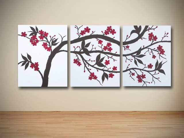 Original Brown And Red Cherry Blossom Triptych Painting On