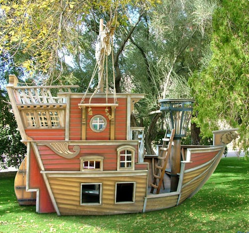 Red Beards Revenge Pirate Ship Playhouse eclectic outdoor playsets