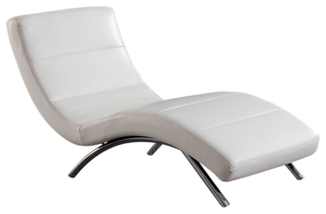 Global Furniture USA Leather Chaise Lounge White Traditional Indoor Chai