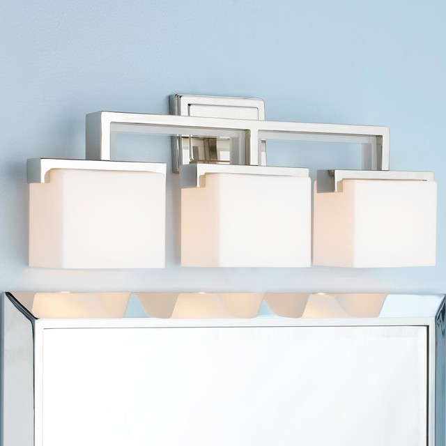 Square Glass Vanity Light : Right Angle Square Rod Glass Vanity Light - 3 Light - Lamp Shades - by Shades of Light