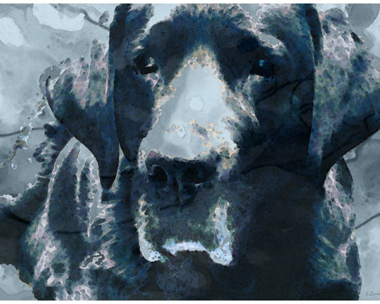 Animals, Fish and Birds - Black Lab Art - To The Moon And Back - By Sharon Cummings