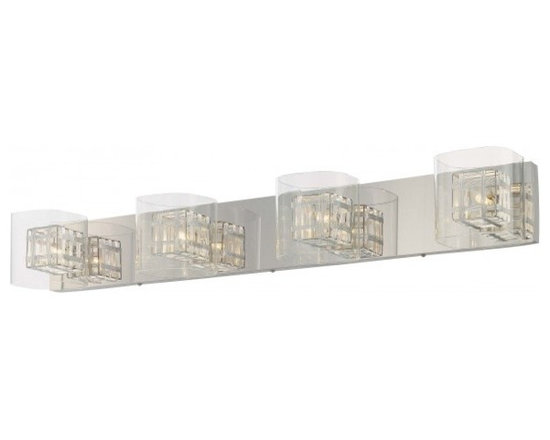 George Kovacs - Jewel Box 4-Light Bath Bar - Very contemporary, very classy, very understated and yet rich. The luminous cages shimmer and light reflects back from the chrome wall plate. Riches abound!