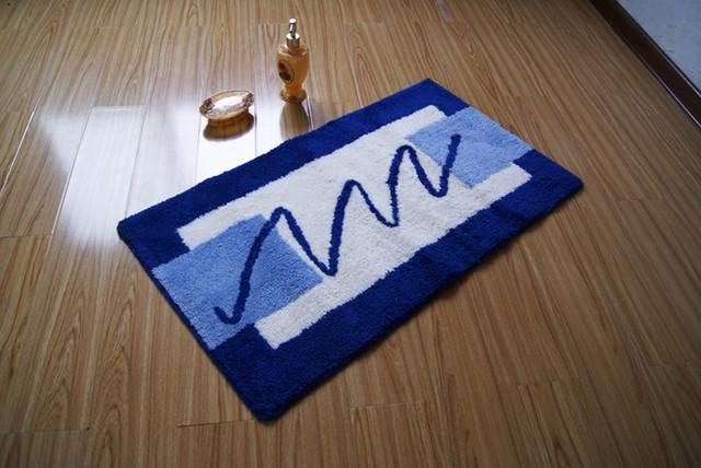 Modern Rectangular White And Blue Non Slip Bathroom Mat