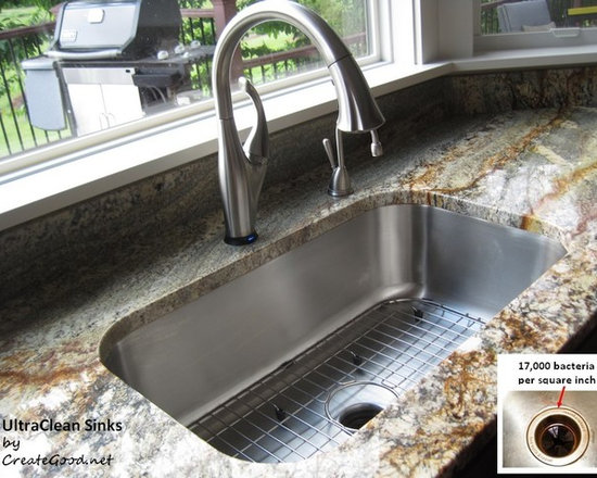 Create Good - UltraClean Seamless Sink has a perfectly formed seamless drain - UltraClean Undermount Kitchen Sinks  by Create Good have a seamless, perfectly formed drain. This UltraClean Single Bowl Sink is perfect for families desiring the highest sanitary standards all the way to the drain.