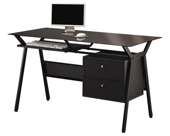 Coaster - Coaster Computer Desk with Two Storage Drawers in Black - Coaster - Computer Desks - 800436 - Simple and stylish this computer desk will make a wonderful addition in any home. The mix of black powder coated metal and black glass creates a modern looking unit that is ready to help you tackle your daily tasks. A pullout keyboard shelf lets you leave plenty of open desk space for a computer monitor and workbooks, while the two storage drawers provide the space to keep papers and necessities organized and tidily tucked away. Just add a comfy task chair of your choice and settle in to work away at this sleek and chic computer desk.