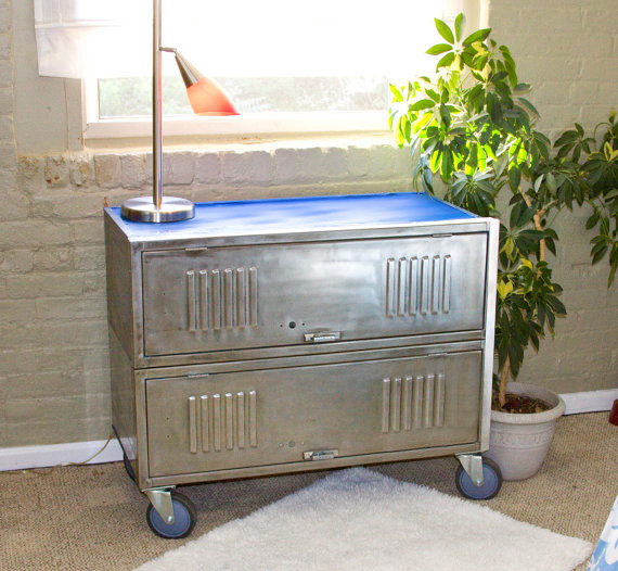 Repurposed, Brushed Steel, Vintage Locker Consoles eclectic storage and organization