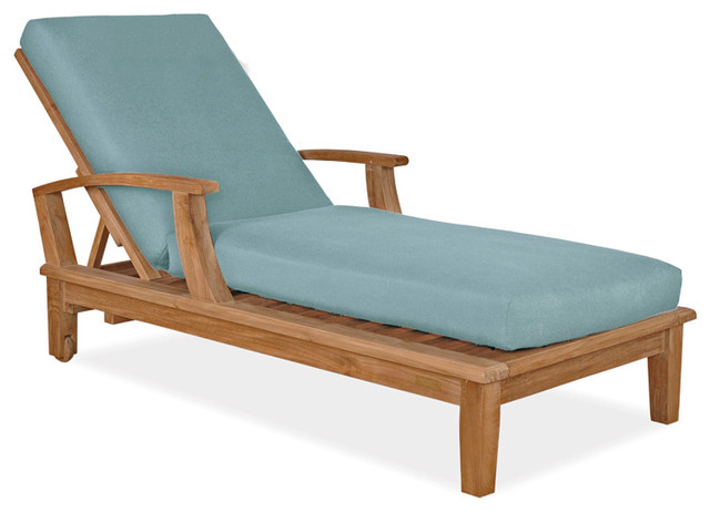 Veranda Collection Teak Chaise Lounger Blue Sage Contemporary Patio Furn