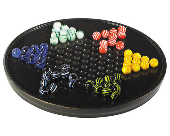 """Inviting Home - Chinese Checkers Game - Chinese checkers made of Venetian glass; 11-3/4"""" x 1-1/2""""H A craze for all things oriental followed the discovery of Tutankhamun�s tomb in 1922. Though actually a 19 C. American invention named Halma (Greek for jump) the game acquired an exotic allure to rival the wide popularity of Mah-Jongg when marketed as Chinese Checkers."""