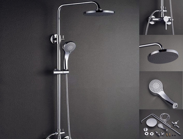 Stylish Wall Mount Single Handle Rain Shower modern-showers
