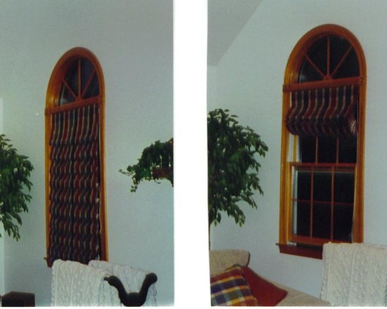 Window Treatments - These hobbled roman shades look beautiful drawn up or when they are all the way down
