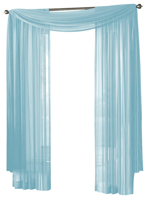 HLC.ME Sheer Curtain Window, Light Blue, Scarf - Traditional - Curtains - by Home Linen Collections