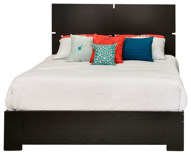 South Shore Mikka Contemporary Style Queen Platform Bed in Black Oak transitional-platform-beds