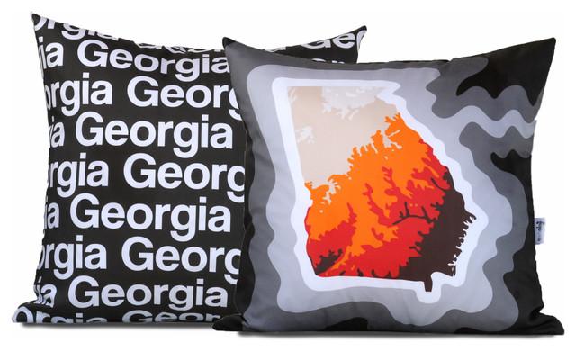 Georgia Map Pillow, Charcoal contemporary-pillows