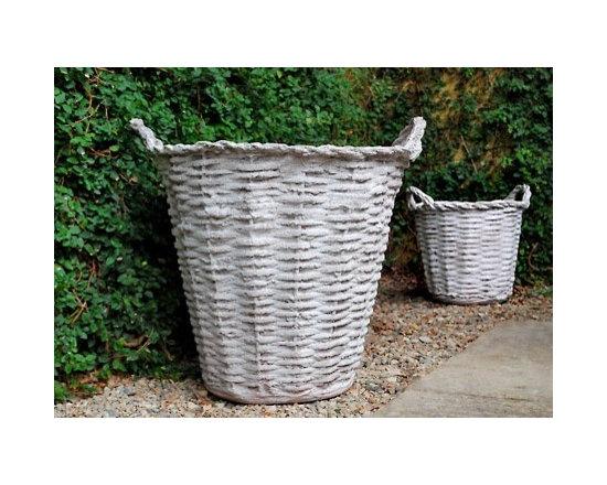 Fiber Stone Wicker Basket Pot -