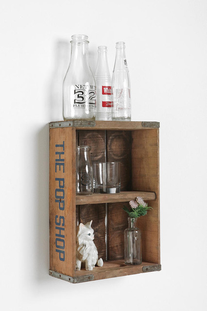 Vintage crate wall shelf