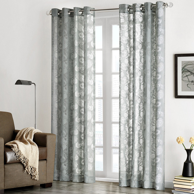 ... Chace' Burnout Paisley Print Sheer Curtain Panel contemporary-curtains
