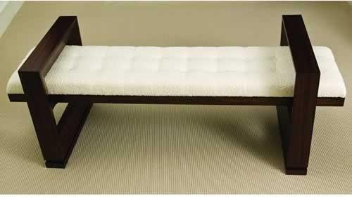 Hardwood with Zebra Wood Veneer Bench indoor-benches