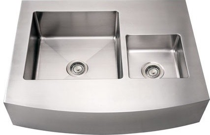 Whitehaus WHNCMDAP3629 36 Inch Noah Double Bowl Sink with an Arched Apron modern-kitchen-sinks