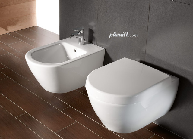 Phenitt Wall Mounted Toilet Pan with Slow Close Toilet Seat - Industrial - hong kong - by ...