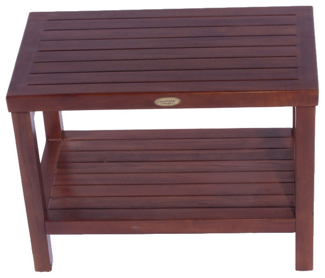 24 Teak Spa Shower Bench With Shelf Contemporary Shower Benches Seats By Truehomeshop