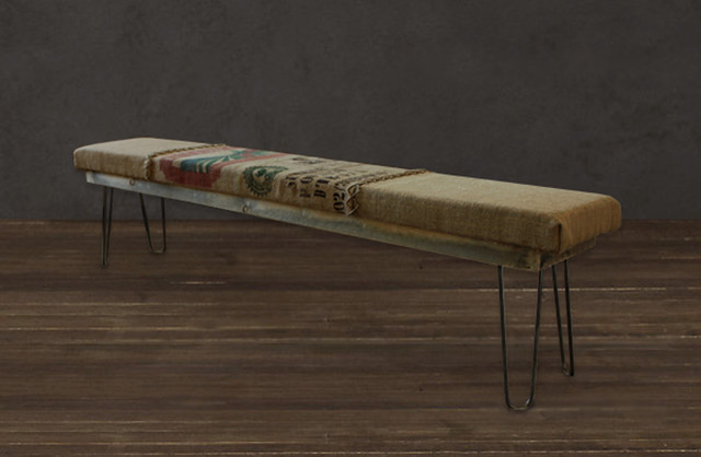 Reclaimed Wood Burlap Coffee Sack Hairpin Leg Bench Modern Indoor Benches Denver By Jw