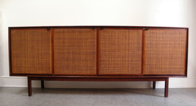 Florence Knoll mid century modern walnut and cane credenza midcentury ...