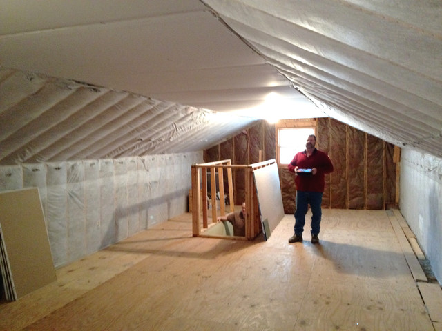 Attic Ceiling And Walls Insulated With Cellulose ...