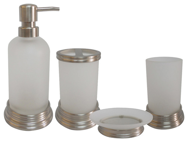 Misty glass and chrome bath accessory 4 piece set for Bathroom sink accessories sets