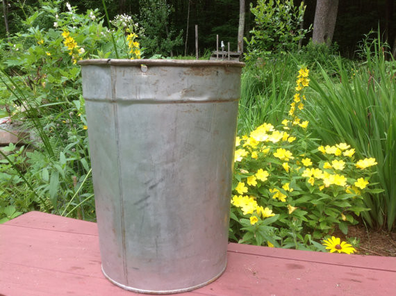 Vintage Maple Sap Bucket, Galvanized by Mapletopia traditional-gardening-accessories