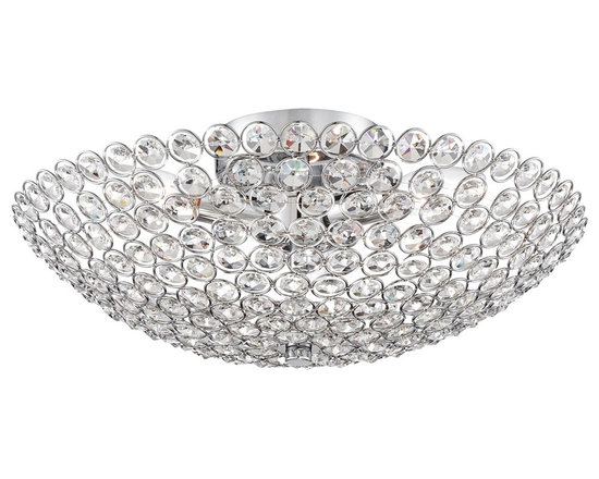 """Possini Euro Design - Possini Euro Geneva 16"""" Wide Crystal Ceiling Light - Easily add modern elegance to your home with this posh flushmount ceiling light. Featuring shining crystal circles and a sleek chrome finish for glamorous style. From the Possini Euro Design lighting collection. Chrome finish. Metal frame with crystal circles. Flushmount design. Takes three 60 watt bulbs (not included). 16"""" wide. 6 1/2"""" high.  Chrome finish.  Metal frame with crystal circles.  Flushmount design.  Luxe living style.  Takes three 60 watt candelabra bulbs (not included).  16"""" wide.  6 1/2"""" high."""